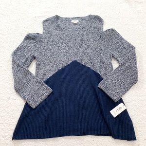 Style & co color-block cold shoulder sweater C